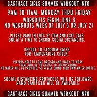CHS ATHLETICS GIRLS'  SUMMER WORKOUT