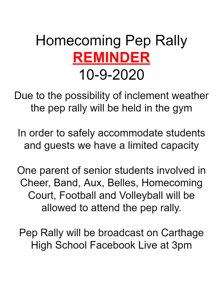 Pep Rally Update 10-9-2020