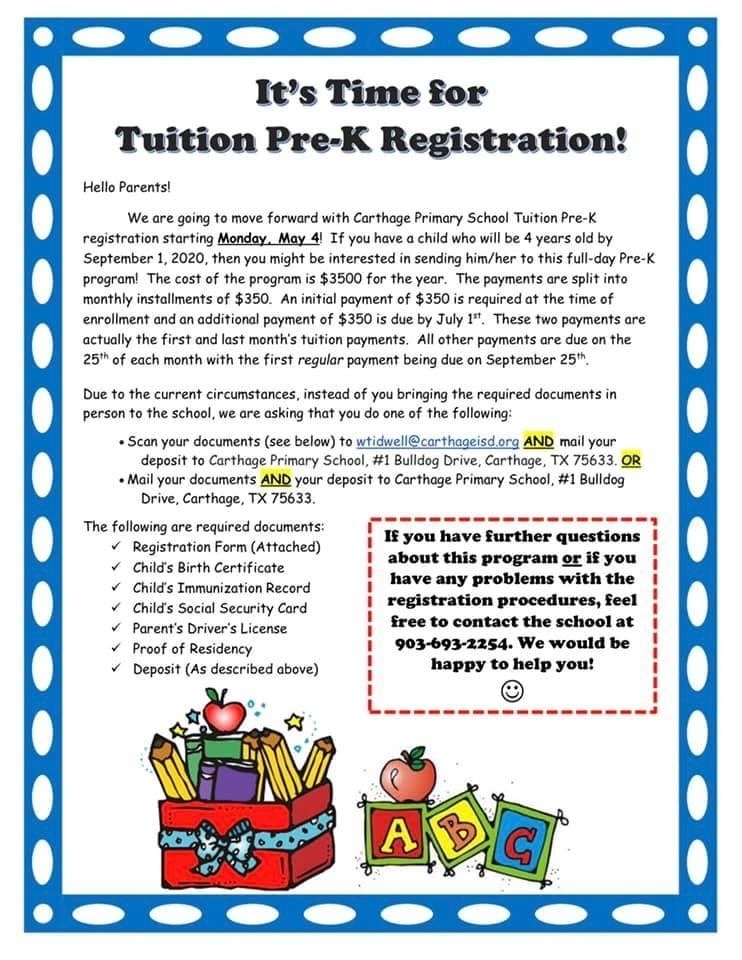 Tuition Pre-K Registration!