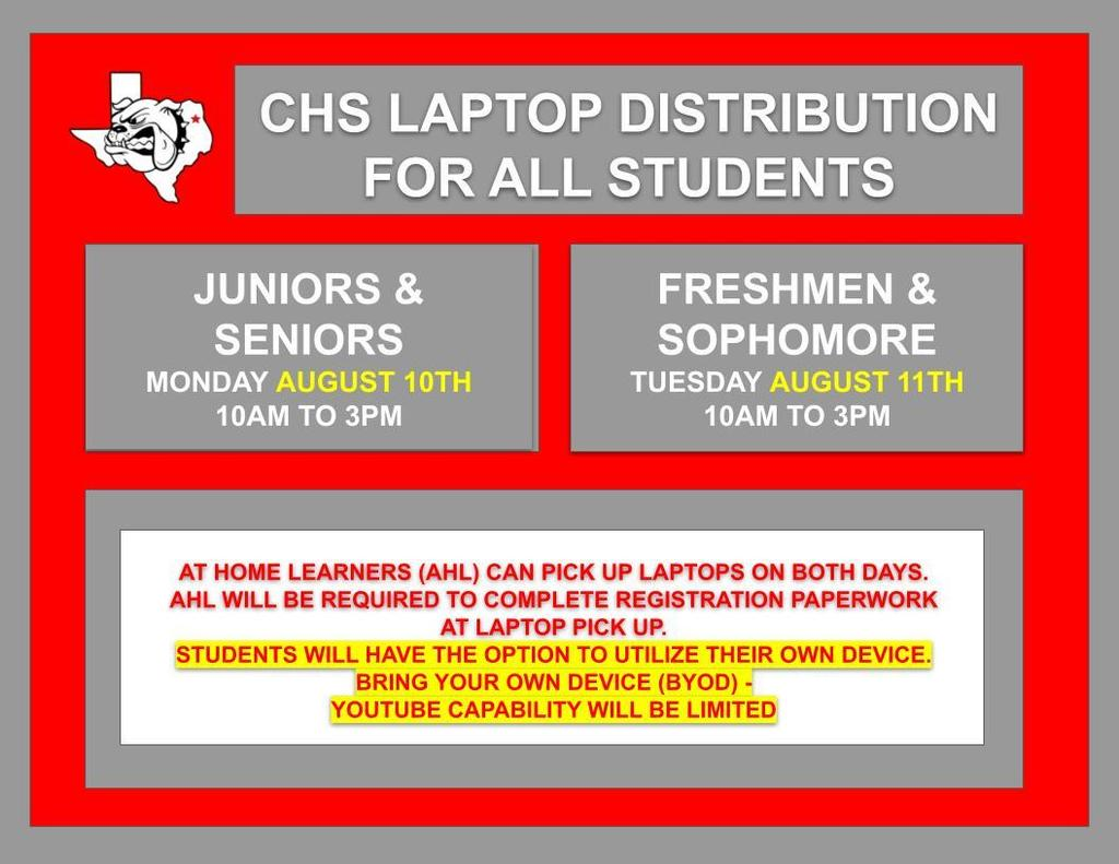 CHS laptop distribution for all high school students.