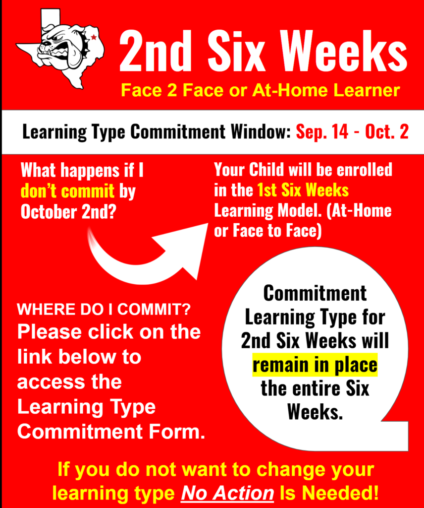 Face 2 Face or At-Home Learner (Commitment 2nd Six Weeks)